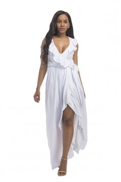 Women Plus Size Deep V Neck Ruffle Sleeveless Maxi Dress White