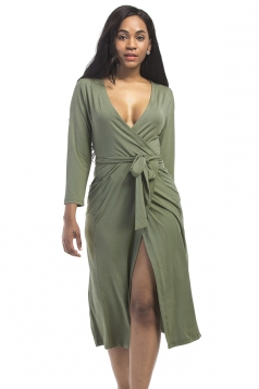 Women Sexy Deep V Neck Plus Size Long Sleeve Dress Army Green