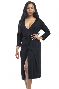 Women Sexy Deep V Neck Plus Size Long Sleeve Dress Black