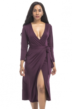 Women Sexy Deep V Neck Plus Size Long Sleeve Dress Purple