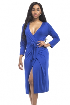Women Sexy Deep V Neck Plus Size Long Sleeve Dress Sapphire Blue