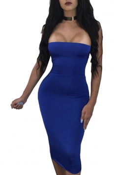 Women Sexy Off Shoulder Cross Lace Up Club Wear Dress Sapphire Blue