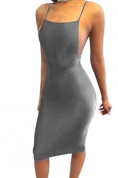 Women Sexy Strap Backless Tight Club Wear Dress Gray