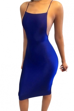 Women Sexy Strap Backless Tight Club Wear Dress Sapphire Blue
