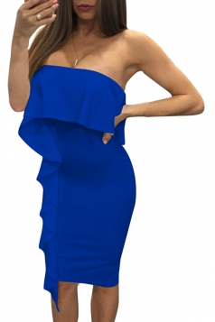 Women Sexy Ruffle Off Shoulder Bodycon Dress Blue