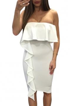 Women Sexy Ruffle Off Shoulder Bodycon Dress White