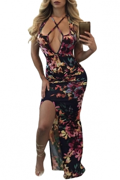Women Sexy Cross Halter Tight Deep V Neck Split Printed Dress Black