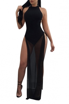 Women Sexy Mesh Patchwork See Through Side Split Backless Dress Black