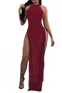 Women Sexy Mesh Patchwork See Through Side Split Backless Dress Ruby