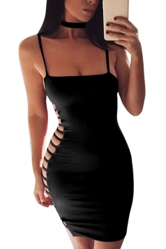 Women Sexy Side Hollow Out Strap Tight Club Wear Dress Black