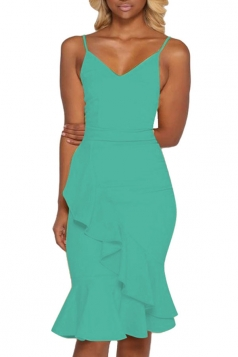 Women Sexy Strap Plain Ruffle Fishtail Club Wear Dress Green