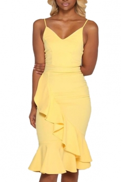 Women Sexy Strap Plain Ruffle Fishtail Club Wear Dress Yellow