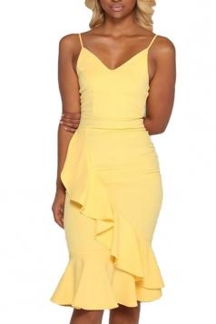 Women Sexy Strap Plain Ruffle Fishtail Club Wear Dress Yellow