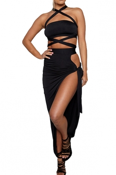 Women Sexy Bandage Bandeau Split Club Wear Dress  Black