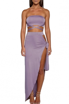 Women Sexy Bandage Bandeau Split Club Wear Dress  Purple