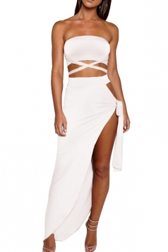 Women Sexy Bandage Bandeau Split Club Wear Dress  White