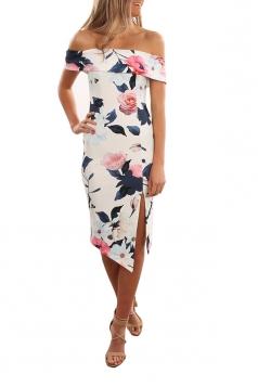 Women Elegant Off Shoulder Side Split Floral Printed Dress Navy Blue