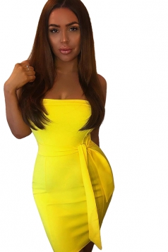 Women Elegant Off Shoulder Slimming Plain Evening Dress Yellow