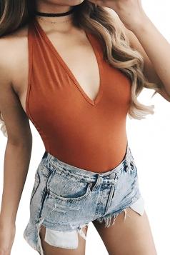 Women Sexy Halter Deep V Neck Backless Plain Bodysuit Orange