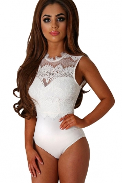 Women Sexy Lace Patchwork Open Back Bodysuit White