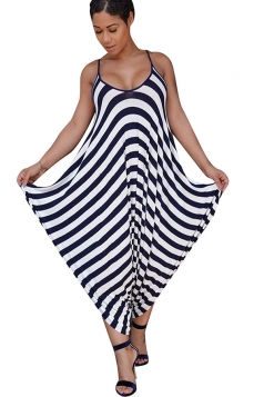 Women Casual Stripes Printed Strap Wide Legs Jumpsuit Navy Blue