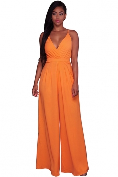 Women Straps V Neck Pleated High Waist Wide Legs Jumpsuit Orange