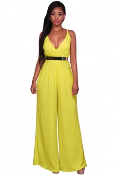 Women Straps V Neck Pleated High Waist Wide Legs Jumpsuit Yellow
