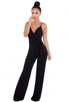 Women Sexy V Neck Backless Straps Wide Legs Jumpsuit Black