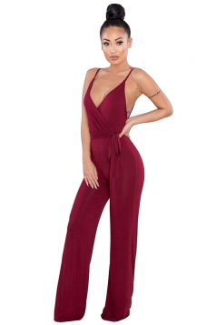 Women Sexy V Neck Backless Straps Wide Legs Jumpsuit Ruby