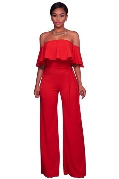 Womens Sexy Off Shoulder Ruffle High Waist Wide Legs Jumpsuit Red