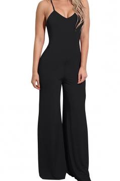 Women Sexy Straps High Waist Wide Legs Open Back Jumpsuit Black