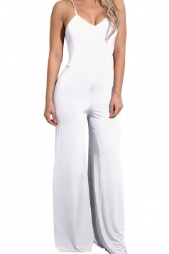 Women Sexy Straps High Waist Wide Legs Open Back Jumpsuit White