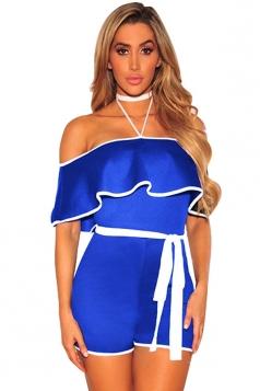 Women Sexy Halter Ruffle High Waist Belt Romper Sapphire Blue