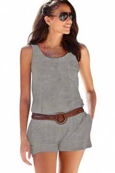 Women Casual Pocket Crew Neck Romper Light Gray