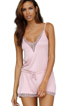 Women Sexy Deep V Neck Straps Lace Patchwork Draw String Romper Pink