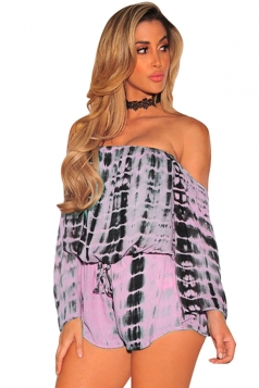 Women Off Shoulder Draw String Long Sleeve Printed Romper Pink