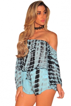 Women Off Shoulder Draw String Long Sleeve Printed Romper Turquoise
