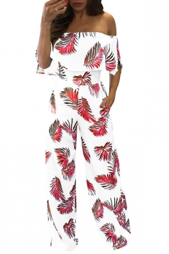 Women Sexy Off Shoulder Ruffle High Waist Printed Jumpsuit Ruby