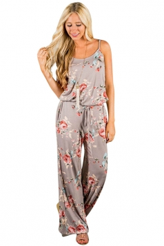 Women Casual Straps Draw String Floral Printed Jumpsuit Khaki