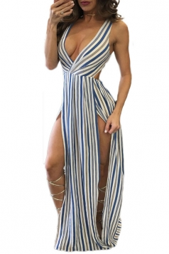 Women Sexy Striped Knot Back Sleeveless Romper Dress Blue