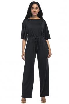 Women Elegant Plus Size Draw String High Waist Jumpsuit Black