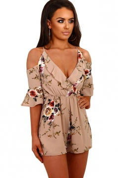 Women Fashion Floral Ruffle Wrap Cold Shoulder Romper Khaki