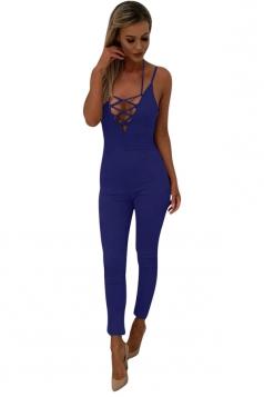 Women Sexy Strap Deep V Neck Lace Up Halter Zipper Jumpsuit Blue