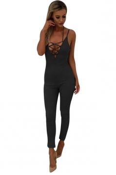 Women Sexy Strap Deep V Neck Lace Up Halter Zipper Jumpsuit Black