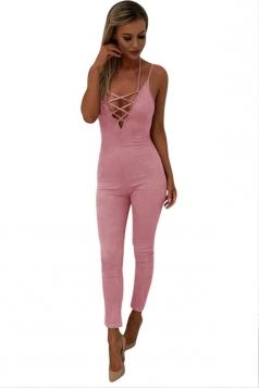 Women Sexy Strap Deep V Neck Lace Up Halter Zipper Jumpsuit Pink