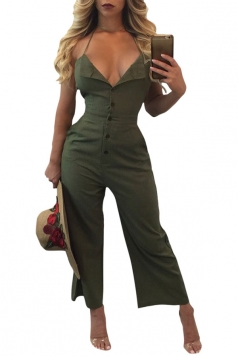 Women Sexy V Neck Backless Halter Wide Legs Jumpsuit Army Green