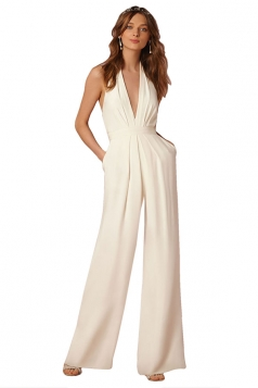 Women Sexy Halter Deep V-Neck High Waist Wide Legs Jumpsuit White