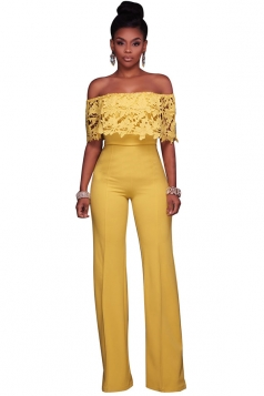 Women Sexy Off Shoulder Lace Ruffle Wide Leg Jumpsuit Yellow