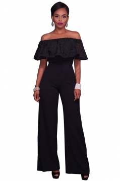 Women Sexy Off Shoulder Ruffle High Waist Wide Legs Jumpsuit Black