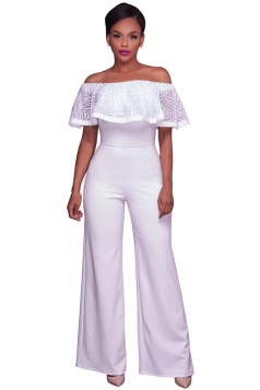 Women Sexy Off Shoulder Ruffle High Waist Wide Legs Jumpsuit White